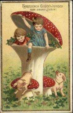 German New Year Fantasy - Children in Giant Mushroom & Pigs c1910 Postcard