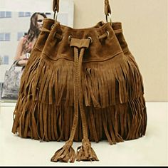 BROWN SUEDE FRINGE SHOULDER BAG Drawstring bucket bag. Material is a faux suede. Measurements in picture #4 in cm. Bags Shoulder Bags