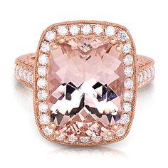Morganite & 7/8 ct. tw. Diamond Halo Ring in 14K Rose Gold