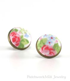 Stud Earrings - Rose Garden Shabby Cottage Chic Earring Studs - Red Green Flowers on White Romantic Fabric Buttons Jewelry, Antique Posts, Jewelry by PatchworkMillJewelry