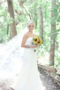 Long veil, sunflower wedding, romantic wedding.