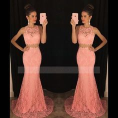 O Neck Two Piece Lace Court Train Pink Trumpet Mermaid Prom Dress #twopiecepromdress #2piecepromdress #promdress #promgown #lacepromdress #oridress