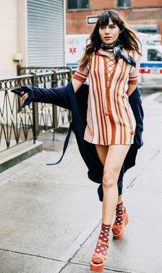 Natalie Off Duty mixes stripes with platform shoes + socks.