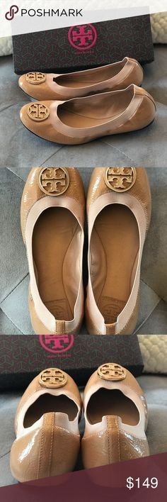 Tory Burch Caroline flats Tory Burch patent leather nude tan flats. Excellent condition only worn a few times to work office. Size 8M. Look new, only one tiny mark on elastic see picture. Tory Burch Shoes Flats & Loafers