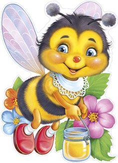 Империя Поздравлений - - Cartoon Bee, Cute Cartoon, Bisous Gif, Cute Bee, Bee Art, Bee Crafts, Beautiful Gif, Bee Happy, Cute Illustration