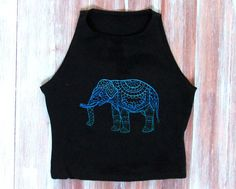 Elephant Crop Top-Boho Mandala Elephant Top-Yoga by ZellyaDesigns