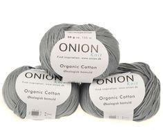 Lys grå økologisk bomuldsgarn fra Onion - 35 kr. per 50 gram