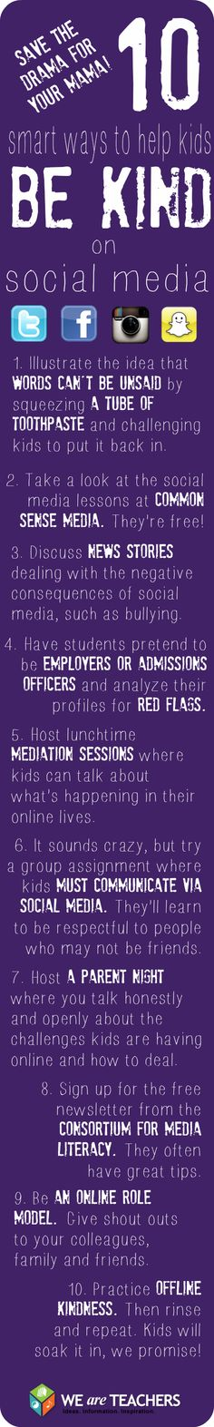 Teaching Social Media Skills onderwijs Teacher Helpline: How Can I Teach Kids to Be Nice Online? Middle School Counseling, School Counselor, Social Media Etiquette, We Are Teachers, Web 2.0, Bullying Prevention, Digital Literacy, Media Literacy, Digital Citizenship