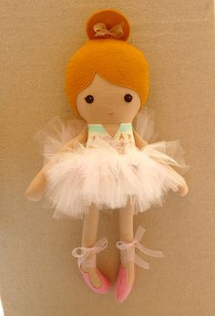 Fabric Doll Rag Doll Pink Ballerina Doll with Tutu
