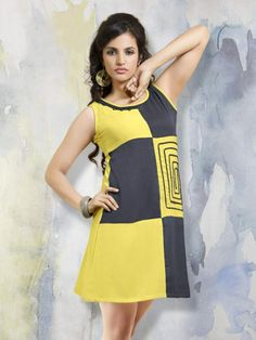 Designer Georgette Yellow And Black Kurti Cum Dress