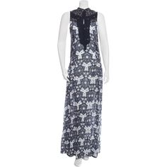 Pre-owned A.L.C. Silk Maxi Dress (8,525 PHP) ❤ liked on Polyvore featuring dresses, grey, gray sleeveless dress, print dress, gray dress, silk dress and pattern dress