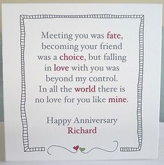 Trendy Birthday Message For Husband Cards Products Ideas 1st Anniversary Quotes, 10th Wedding Anniversary Gift, Anniversary Cards For Husband, Year Anniversary Gifts, Happy Anniversary, Anniversary Scrapbook 1 Year, Birthday Message For Husband, Husband Valentine Card, Valentine Cards