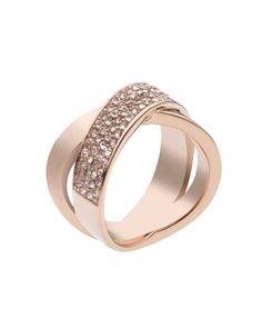 Michael Kors Pave-Crystal Twist Ring, Rose Golden.