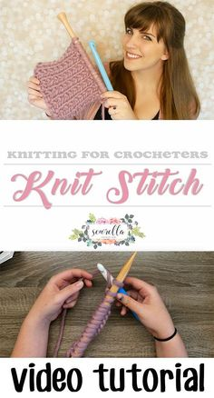 Learn how to make the knit stitch with this easy to follow beginner video tutorial for crocheters! Use a hook and needles to learn to knit | Free tutorial from Sewrella