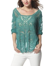 Simply Couture Green Sheer Palm-Embroidered Boatneck Top | zulily