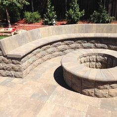 Belgard Belair stone fire pit & sitting wall with bull nose, Catalina Slate paver in Bella blend | Yelp