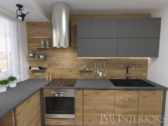 Drewno zestawione z antracytem oraz chromowane dodatki sprawiają że mała kuchnia jest elegancka. Kitchen Room Design, Kitchen Cabinet Design, Modern Kitchen Design, Kitchen Colors, Kitchen Interior, Kitchen Cabinets, Kitchen Flooring, Kitchen Furniture, Furniture Design