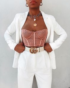 Boujee Outfits, Basic Outfits, Cute Casual Outfits, Stylish Outfits, Summer Outfits, Fashion Outfits, Bustier Top Outfits, Lace Bustier, Lace Lingerie