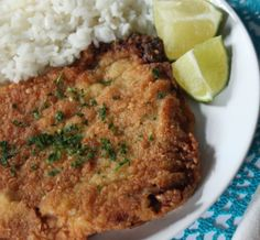 Bistec Empanizado (Cuban Fried Steak) Very good. Steak had great flavor, but breading not so much. Next time I'll either season the cracker meal, use more flavorful crackers, or both. Cuban Dishes, Spanish Dishes, Beef Dishes, Spanish Food, Spanish Recipes, Steak Recipes, Mexican Food Recipes, Cooking Recipes, Ethnic Recipes
