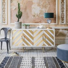 Add show-stopping glamour to a room with our Nala sideboard. Upcycled Furniture, New Furniture, Patterned Furniture, Farmhouse Bedroom Decor, Home Accents, Sideboard, Brass, Shelves, Wood