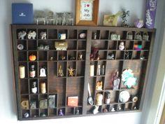 Printer Drawer Type Case Wooden Display Organizer Curio Shadow Box
