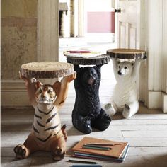 Animal Side Tables Animal Side Table - A polar bear and a black bear for each girl in each of their bedrooms as a bed stand? Bedroom Decor For Teen Girls, Bedroom Themes, Bedroom Sets, Boys Jungle Bedroom, Safari Theme Bedroom, Themed Nursery, Animal Bedroom, Bed Stand, Living Room Decor On A Budget