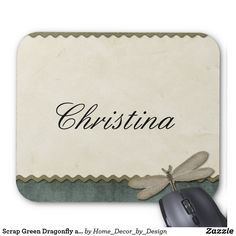 Scrap Green Dragonfly and Ribbon Personalized Mouse Pad