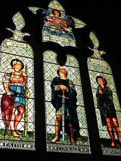Burne Jones,Malmesbury, Wiltshire ...Edward Burne Jones work is seen here translated into #stained #glass