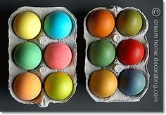 Dyed Easter eggs made from  white duck eggs on the left and brown chicken eggs on the right