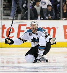 Joe Thornton of the San Jose Sharks celebrates after scoring the game winning goal against the Los Angeles Kings in game April 2011 in Los Angeles Ice Hockey Teams, Hockey Goalie, Hockey Players, San Jose Sharks, Slam Dunk, Penguins Players, Joe Thornton, Oh Captain My Captain, Shark Bait