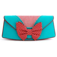 bag blue red clutch vintage retro rockabilly Pin up bow polka dots Red And Teal, Red Turquoise, Bow Clutch, Bow Purse, Oversized Clutch, Shoulder Strap Bag, Buy Bags, Irregular Choice, Purses And Handbags