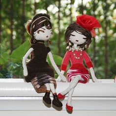 """Friends"" made by Galileodesigns.  Both dolls were made using the pattern: Sabrina, from Venelopa TOYS on Etsy.  Clothing is highly modified."