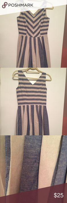 """Cute blue and beige striped dress! Cute dress with flattering pleats at waist. Linen/cotton fabric, so I would dry clean. Size 2 but fits large (I'm usually a 6-8). I'm also 5'7"""" and it hits at my knee ANTONIO MELANI Dresses"""
