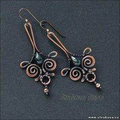 (no title) Strukova Elena Copper Jewelry, Wire Jewelry, Jewelry Art, Beaded Jewelry, Jewelry Design, Jewellery, Fashion Jewelry, Wire Wrapped Earrings, Wire Earrings