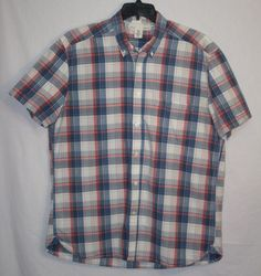 LOGG H&M Plaid Button Front Shirt XL Regular Fit Short Sleeve Men's Fashion