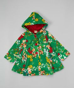 This Green Floral Hood Swing Coat - Toddler & Girls is perfect! #zulilyfinds