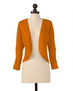 The Shirred Sleeve Bolero in Burnt Orange