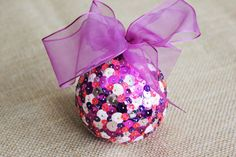Pink & Purple Sequin Christmas Ornament  by PeabodiesGlasshouse | Holiday decor for girls