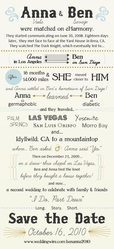 'Second Wedding' invite. - We'll do something like this when we have our big wedding in a few years.
