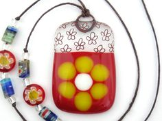 Fused Glass Jewelry / Fused Glass Necklace / Fused Glass Pendant - Yellow Daisy on Red (28.00 USD) by WoodAndGlass