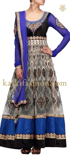 Buy it now http://www.kalkifashion.com/black-and-blue-anarkali-dress-with-embroidery.html Black and blue anarkali dress with embroidery