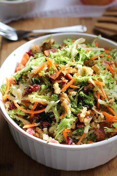 Grated Broccoli Salad with Walnuts, Bacon, and Citrus-Bacon Dressing
