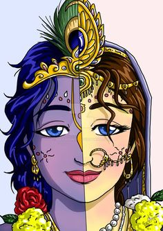 Hare Krsna everyone. This is a thematic illustration featuring the Divine Couple - Sri Krsna and Srimati Radharani in a single face. The Divine Couple as ONE Radha Krishna Sketch, Krishna Drawing, Lord Krishna Images, Radha Krishna Pictures, Krishna Painting, Radha Krishna Photo, Krishna Art, Lord Krishna Sketch, Shree Krishna
