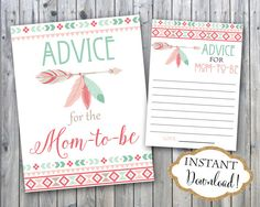Every new mom needs an advice for family and friends, so add these Advice For Mom To Be printable and a sign to your baby shower. You can set them up by the gift table so every guest can see them and fill them out with a piece of advice.  INSTANT DOWNLOAD - Advice for Mom to Be Card and Sign - Mint Pink Bohemian Tribal Aztec Feather Arrow Boho Baby Shower. Find more coordinating printables at JanePaperie: https://www.etsy.com/shop/JanePaperie