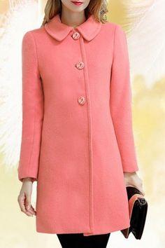 Ladylike Women's Turn-Down Pink Long Sleeve Coat
