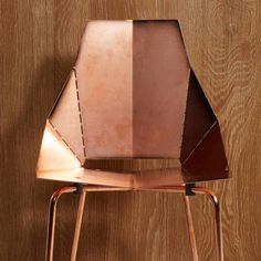 just-good-design: Perfect for adding copper accent to any modern home. It is also designed to exhibit wear marks unique to the owner and patina naturally. It ships flat and folds along laser-cut lines to create a dynamic chair. Copper Real Good Chair. Blu Dot