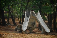 Very old concrete slide at the UP Diliman Playground