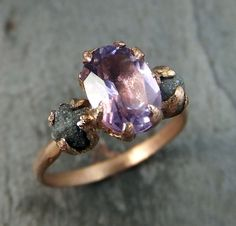 Raw Diamond Amethyst Gemstone 14k Rose Gold by byAngeline on Etsy
