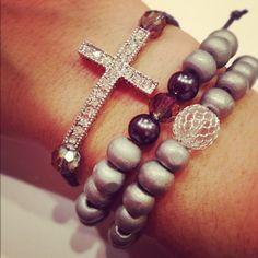 Cross bracelet set by AroundMyWrist on Etsy, 22.95