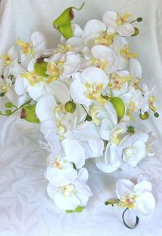 Cascade Orchid Bouquet & Boutonniere real by ChurchMouseCreations